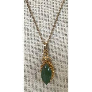 VTG Gold Filled Jade Pendant Necklace